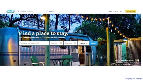 Página inicial do site airbnb.com
