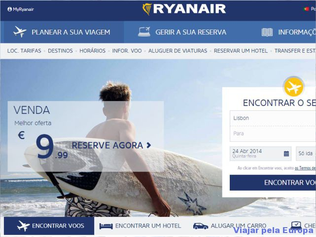 Print do site da Ryanair