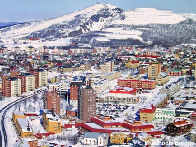 Vista aérea da linda Kiruna. Em 5 anos a cidade terá uma nova cara.
