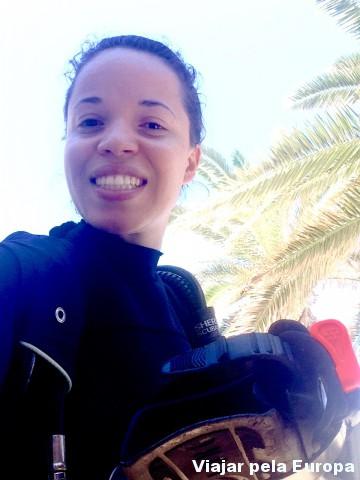 Pronta para o mergulho em Creta. Será? >D
