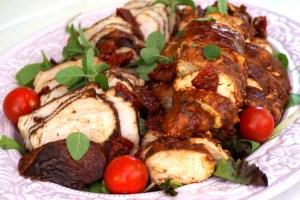 Dubbelmarinerad kycklingfilé och fläskytterfilé - kallskuren buffemat