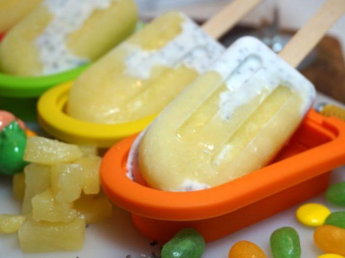 Krämig glass med kokosmjölk och ananas