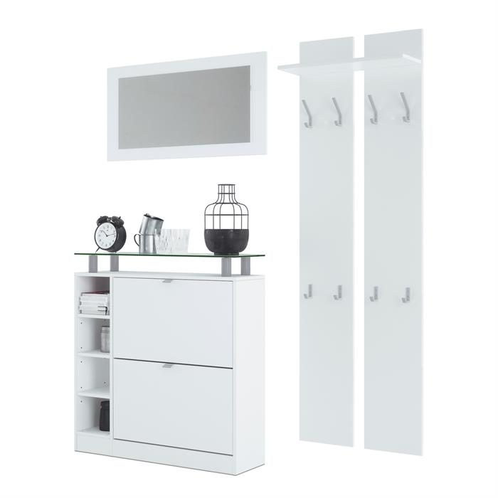 details sur garderobe ensemble de meubles d entree meubles chaussure miroir dolly en blanc