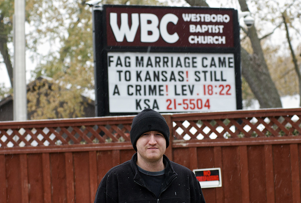 "Photo of the sign in front of the Westboro Baptist Church with the words, ""FAG MARRIAGE CAME TO KANSAS! STILL A CRIME! LEVITICUS 18:22"""