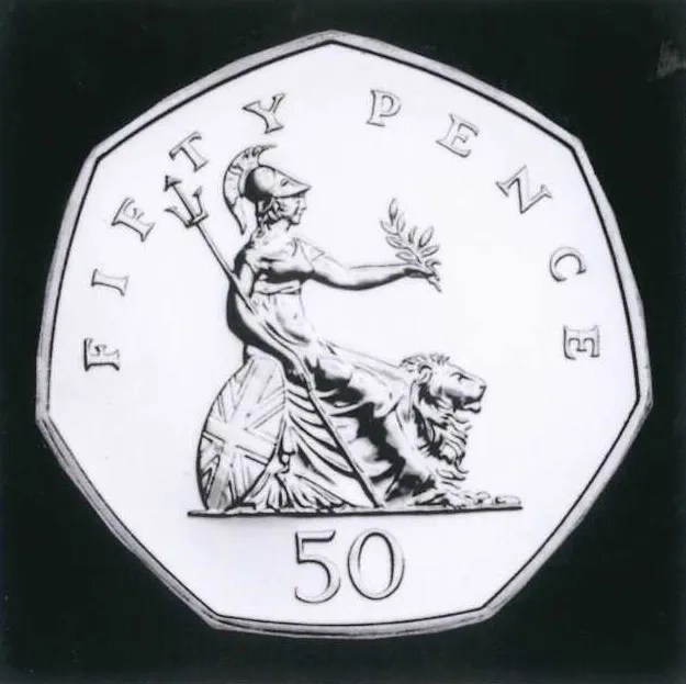 Britannias old incarnation on a 50 pence piece.