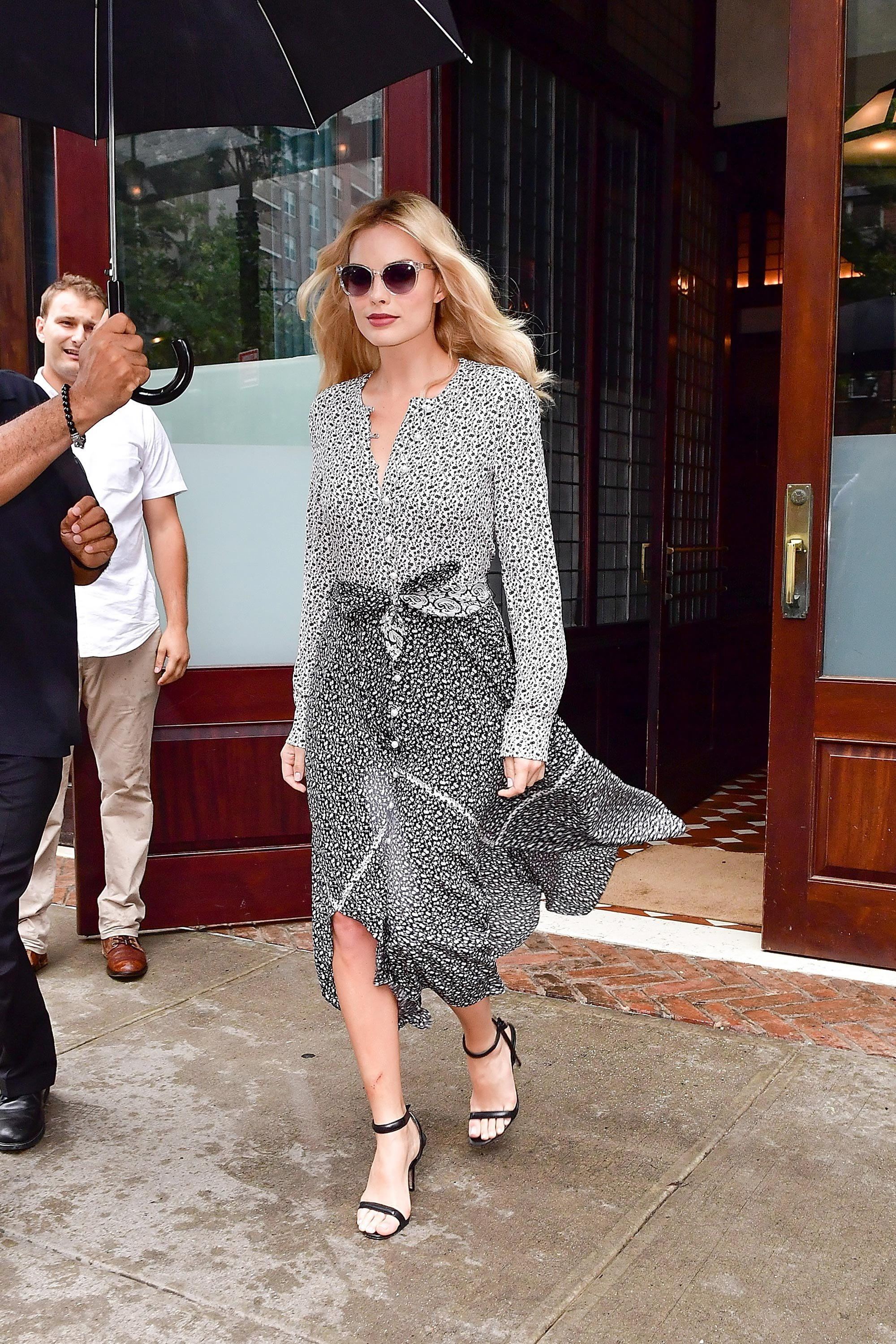 Margot Robbie Wears Altuzarras Printed Summer Dress In