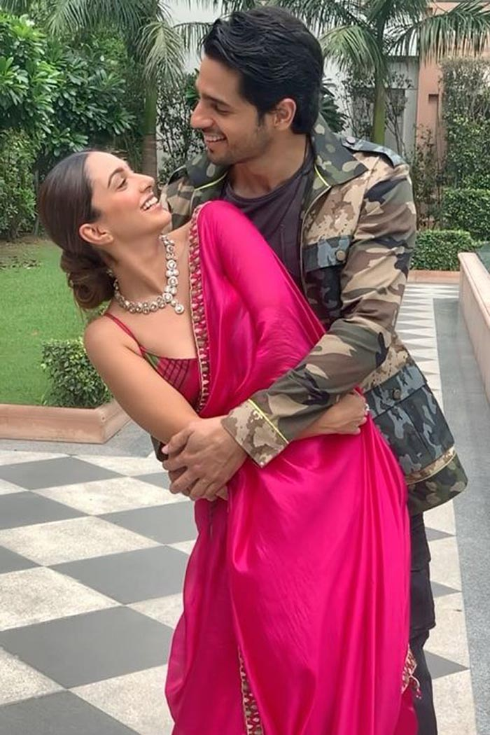 Kiara Advani wore a pink sari with a sexy blouse for Shershaah promotions  with Sidharth Malhotra   VOGUE India
