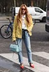 White I Look at leads straight jeans with jacket-yellow