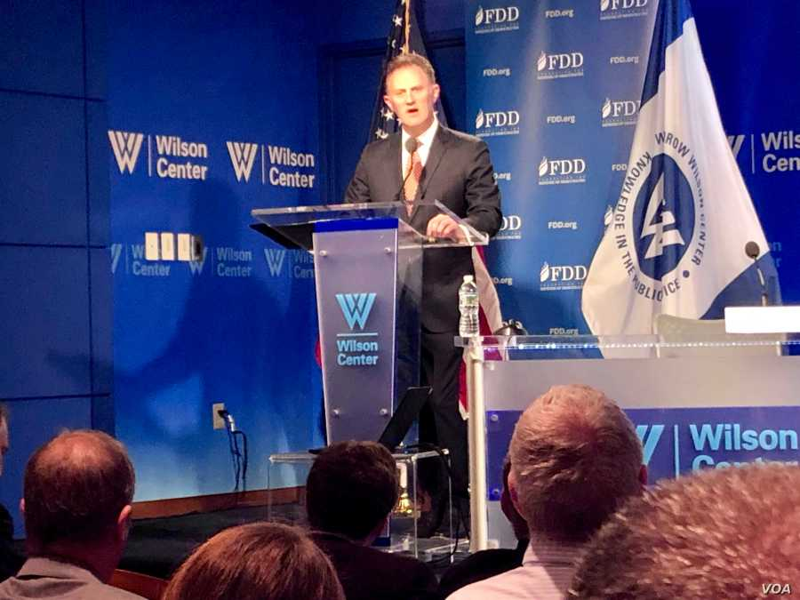 U.S. Counterterrorism Coordinator and Ambassador Nathan Sales speaks at a Wilson Center forum in Washington on July 12, 2019. (M