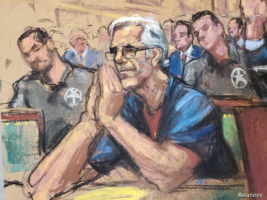U.S. financier Jeffrey Epstein looks on during a bail hearing in his sex trafficking case, in this court sketch in New York, July 15, 2019.