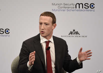 Facebook CEO Mark Zuckerberg speaks on the second day of the Munich Security Conference in Munich, Germany, Feb. 15, 2020.