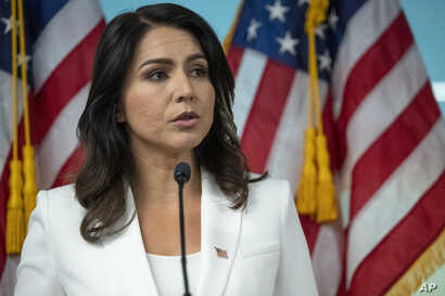 FILE - In this Oct. 29, 2019, file photo, Democratic presidential candidate Rep. Tulsi Gabbard, D-Hawaii, speaks during a news