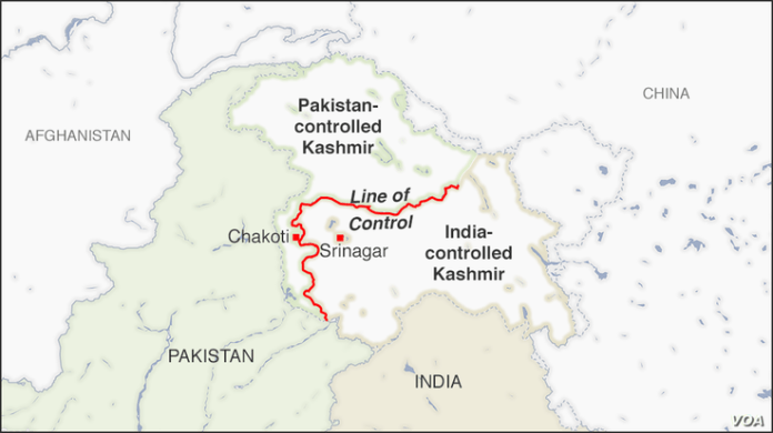 A map Kashmir, showing India-controlled Kashmir, Pakistan-controlled Kashmir and the Line of Control