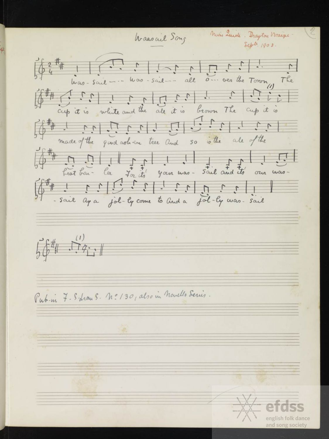 Wassail Song, noted by Cecil Sharp from Miss Quick, Drayton, Somerset. From the Full English archive.
