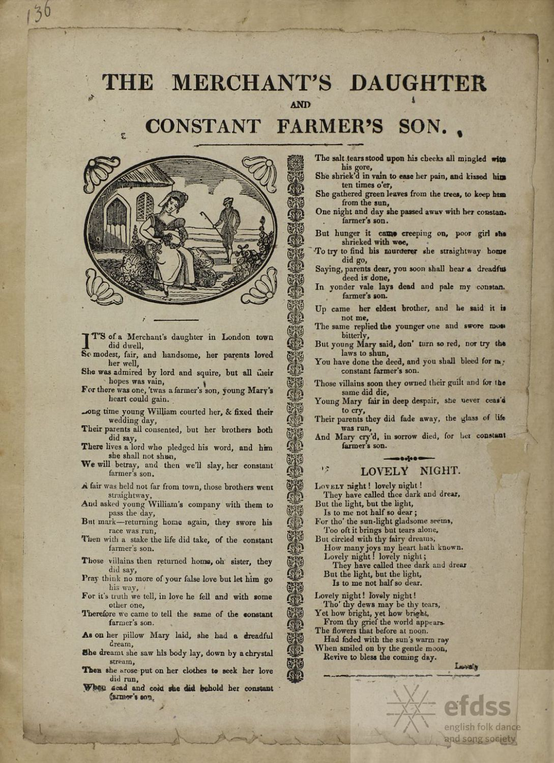 The Merchant's Daughter And Constant Farmer's Son - ballad sheet from the Frank Kidson Manuscript Collection, via the Full English archive.