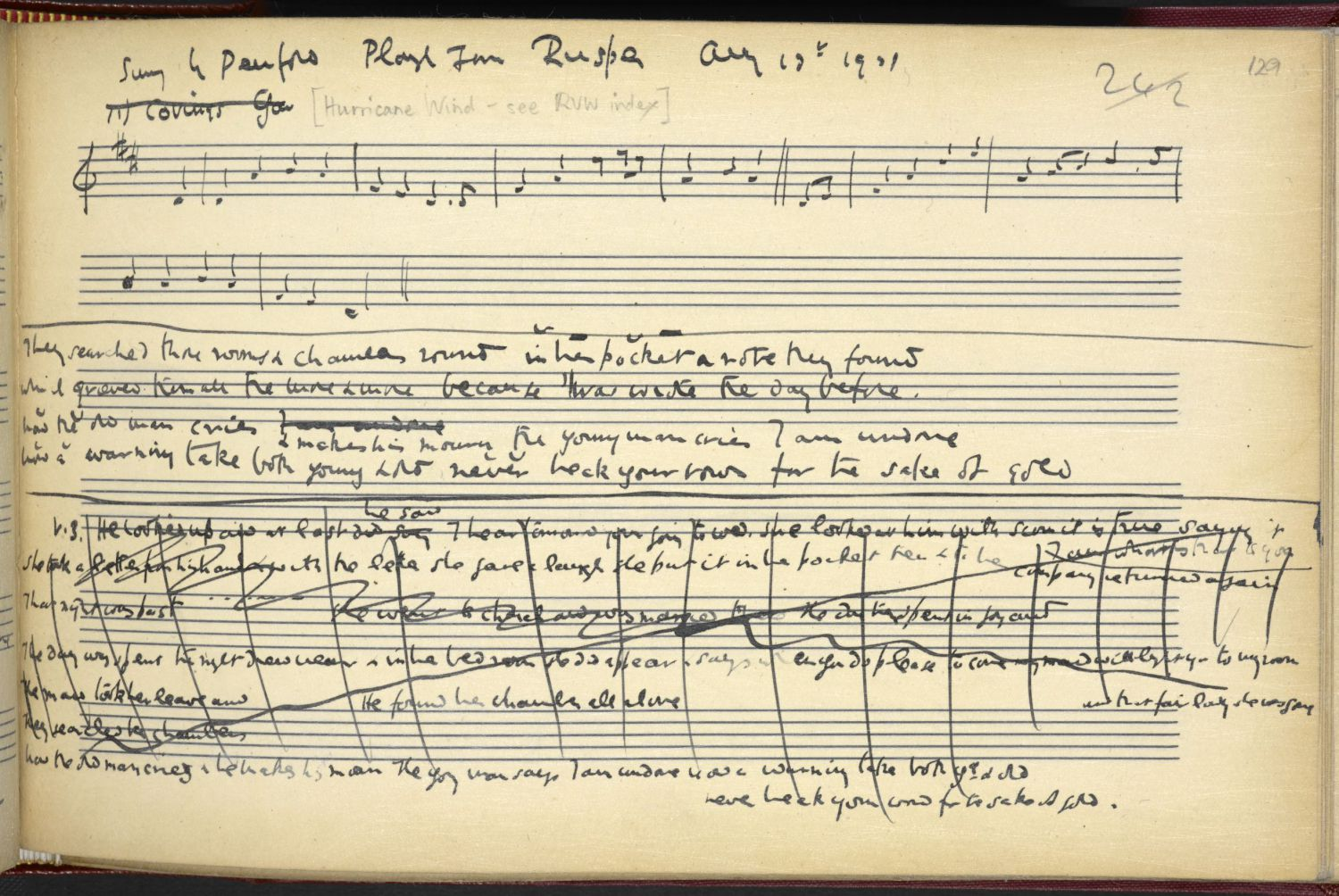 Hurricane Wind, page 2. From Ralph Vaughan Williams' notebook, via the Full English.