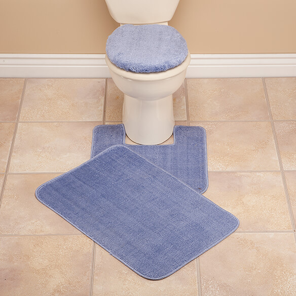 plush bath rug set - toilet seat cover and rug set - walter drake