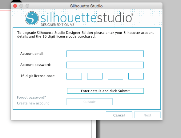 silhouette studio designer edition license key card