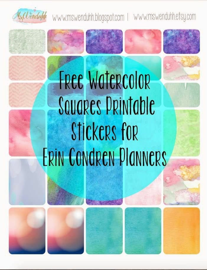 free printable stickers watercolor squares for erin condren planners wendaful planning