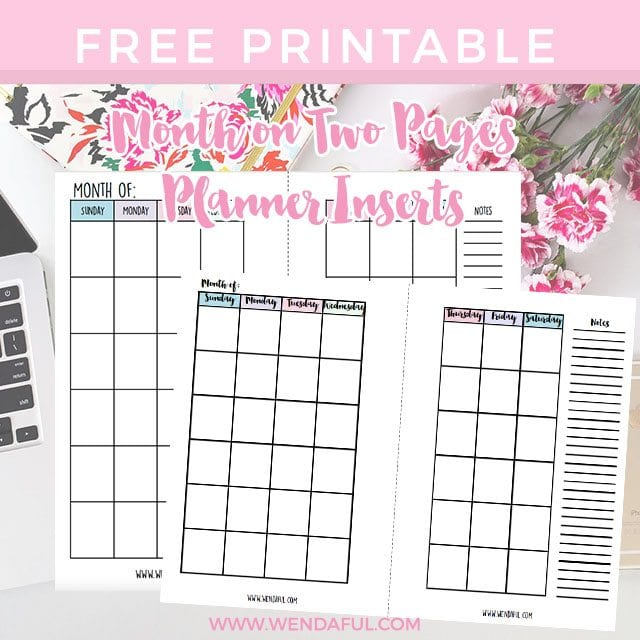 Free Undated Month On Two Pages Planner Inserts