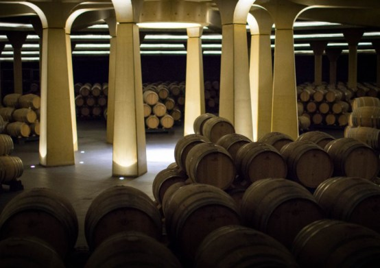 Barrel Room at Dinastia Vivanco cellaring Rioja wines