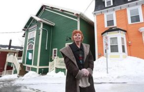 Bonnie Leyton, owner of The Leyton Gallery, outside the LSPU Hall in downtown St. John's on Saturday, February 25, 2017. Tourism ads shot in the famous heritage district of St. John's, N.L., say the residents of those bright jelly bean row houses are at least as colourful as their homes. It's not just hype. THE CANADIAN PRESS/Paul Daly