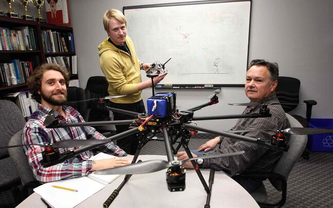 Bryan Drobot (from left), Curtis Einarson and Dale George of Buoyant Aircraft Systems International want to develop a flight school for pilots of drones.