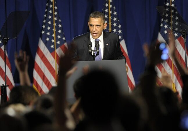 President Barack Obama speaks at a fundraiser in New York City, Thursday, March 1, 2012. Obama will be speaking at 4 fundraisers while in New york City.(AP Photo/Susan Walsh)