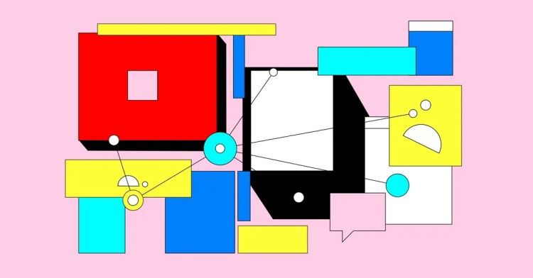 an abstract depiction of screens and bubbles connected