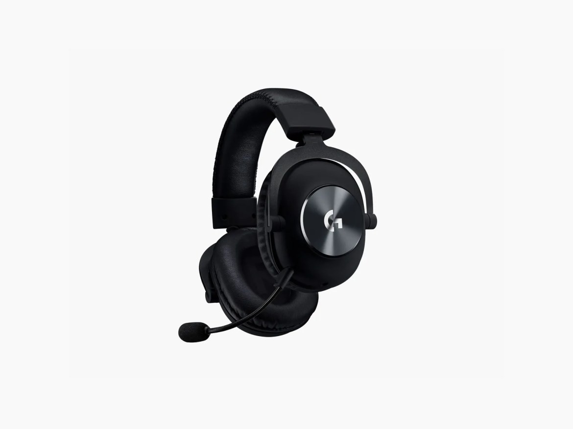 black headset with mic