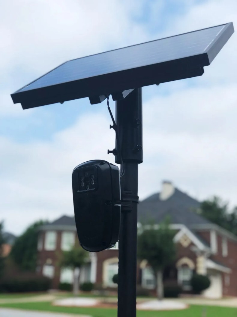 a camera mounted to solar panel in Georgia neighborhood