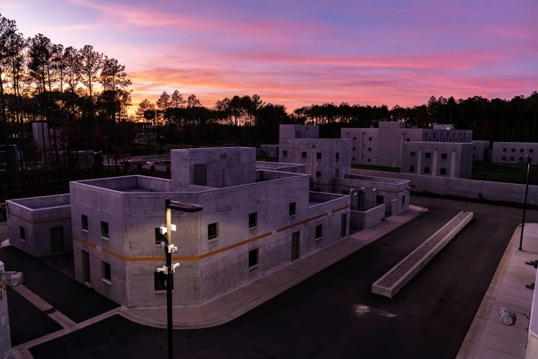 Part of the simulated city at the State Department training center in Virginia. The building in the rear behind the...