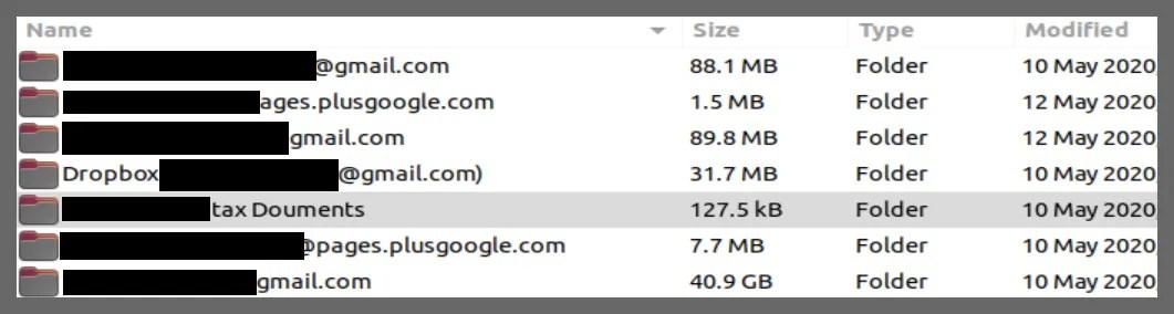 screenshot of email addresses