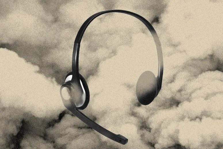 headphones float in dark clouds