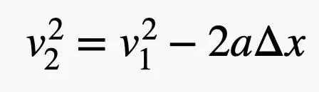 la velocità finale al quadrato è uguale alla prima velocità al quadrato meno 2 volte una variazione di volte in x