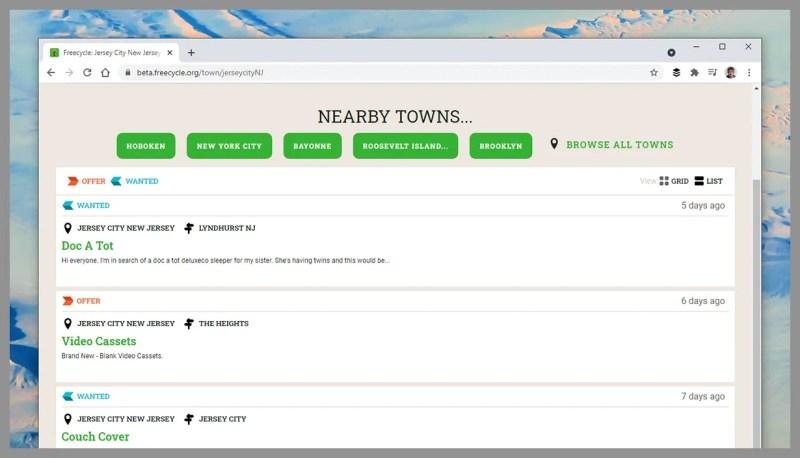 Screenshot del sito web di Freecycle