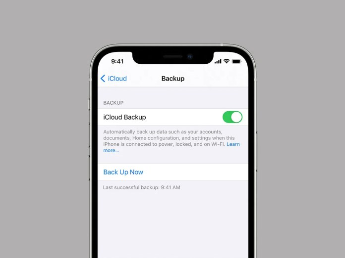icloud backup on mobile phone screen