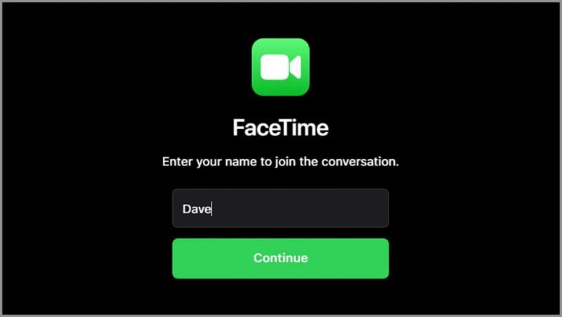 Schermata di Facetime
