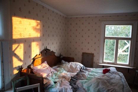 Solnedgång på sängen.