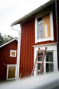 Tillfällig lagning av vindsfönstret.