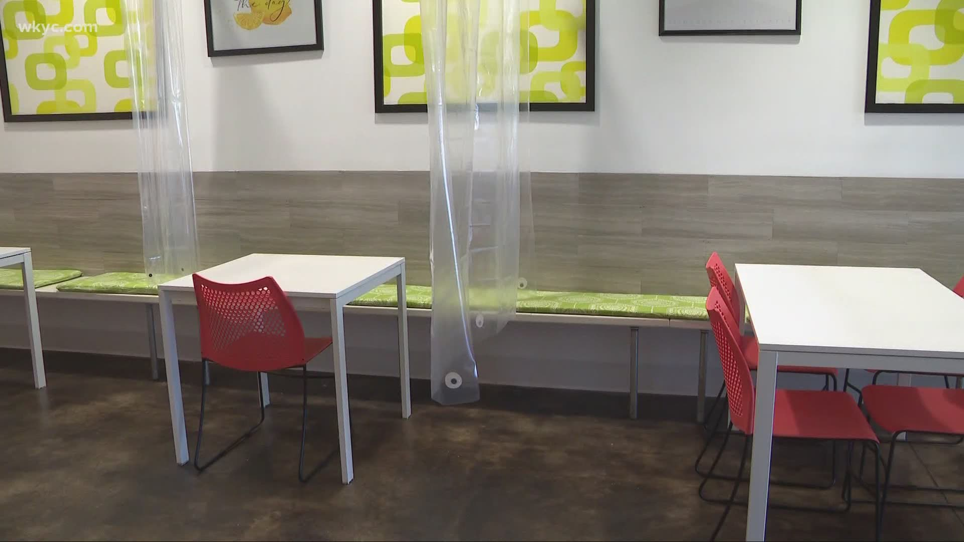 north canton restaurant uses shower curtains to separate tables for reopening amid coronavirus