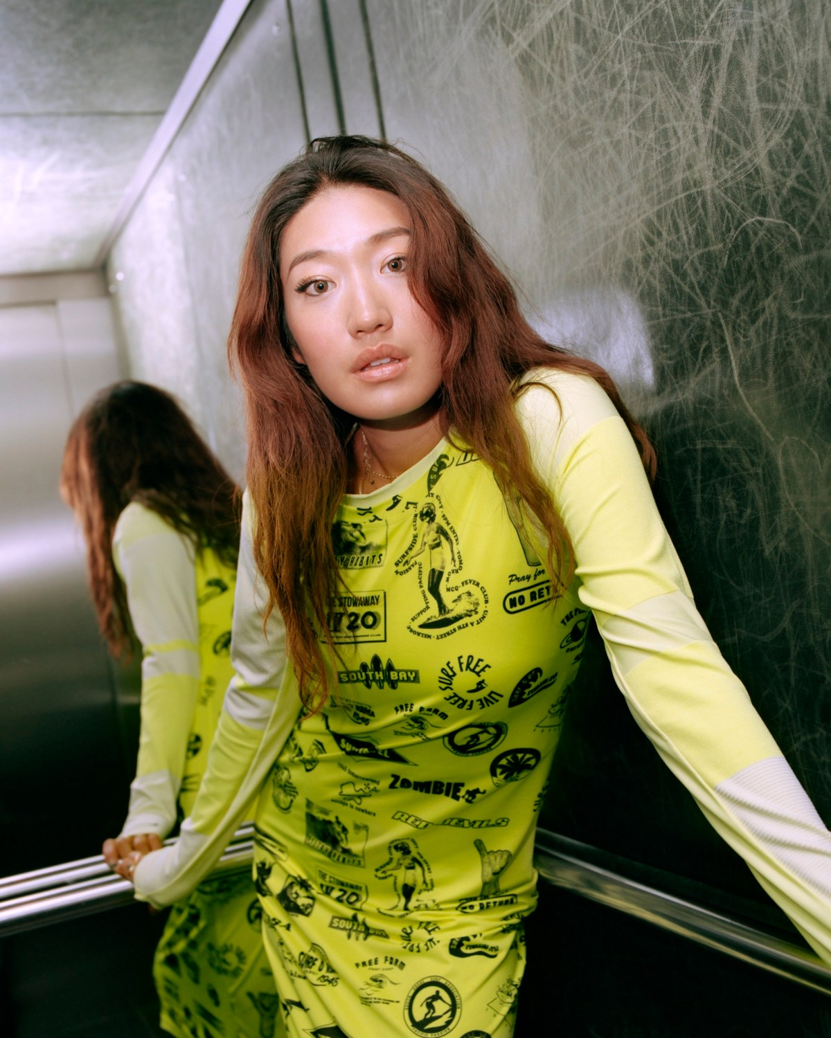 South Korean DJ Peggy Gou on the cover of Rollacoaster Spring/Summer 2019 yellow dress
