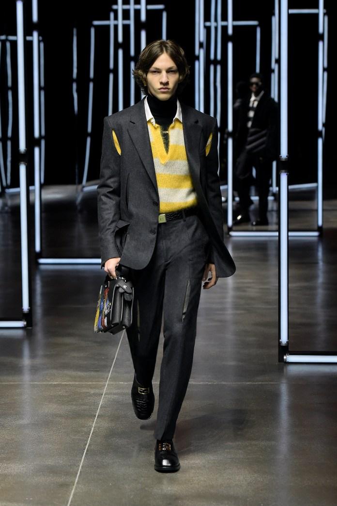 FENDI AW21 menswear yellow jumper with cut out blazer