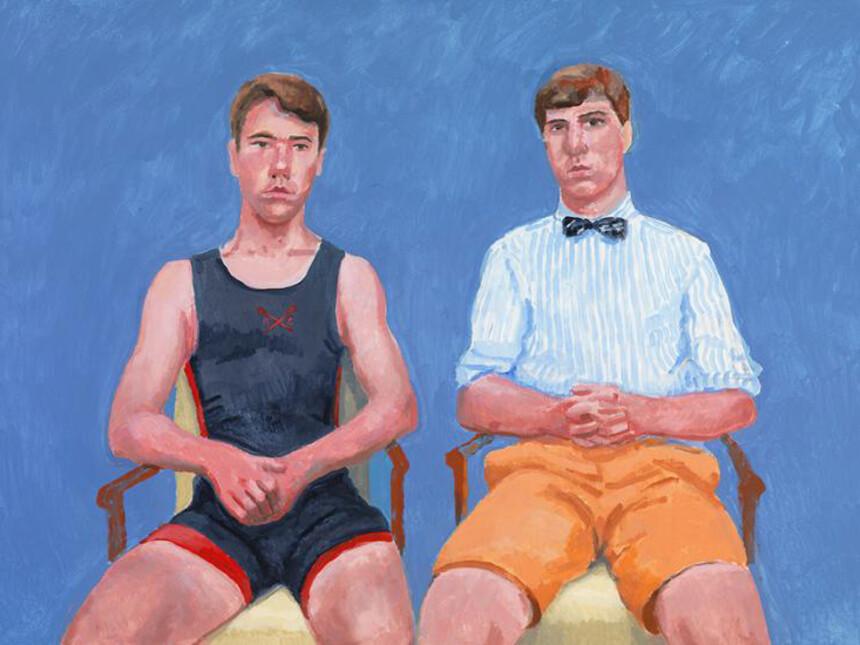 David Hockney, Augustus and Perry Barringer, 16-17 & 21 June (2014), Acrylic on canvas, 91.4 x 121.9 cm © David Hockney, Photo Credit: Richard Schmidt