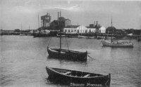 Skanörs hamn. I bakgrunden Baltiska Cementenfabriken 1915