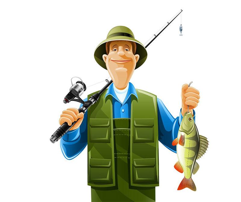 fiskare med en fisk i handen