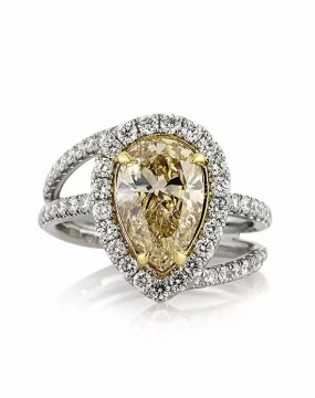 Pear Shaped Engagement Rings Mark Broumand  3 02ct Fancy Yellow Pear Shaped Diamond Engagement Ring