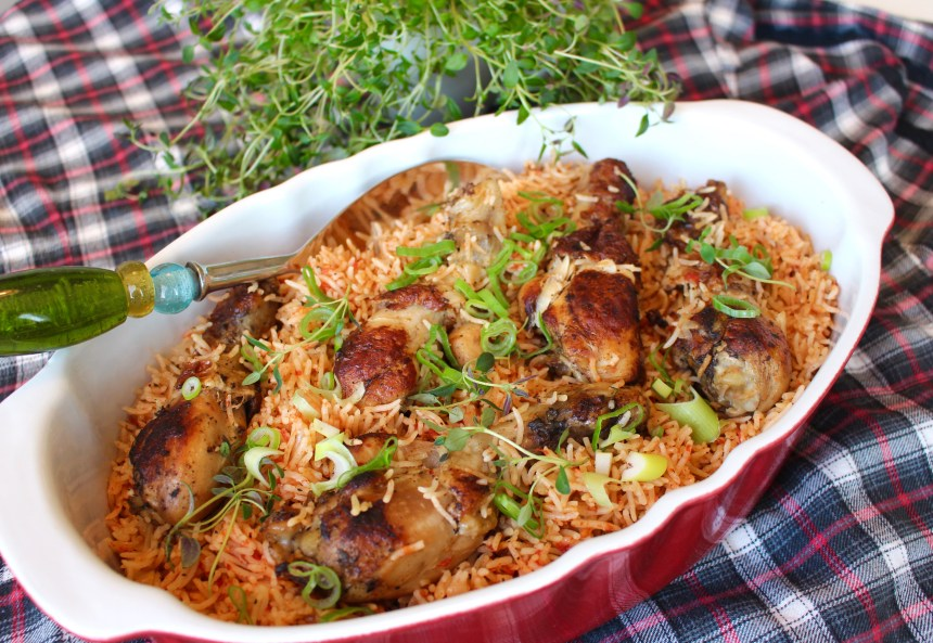 Kyckling och ris i ugn