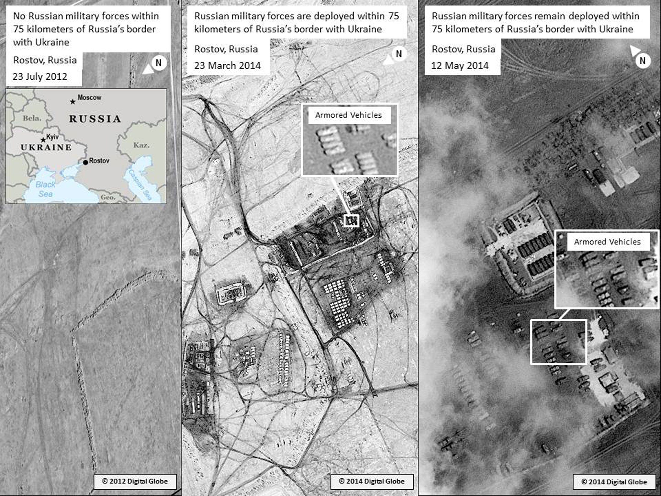 Satellite images said to show Russian troops gathering near the Ukrainian border is seen in this handout released by the U.S. mission to NATO May 13, 2014. The U.S. government released new satellite pictures on Tuesday which it said showed Russian forces were still near the Ukrainian border in recent days, contradicting Russian assertions they had been withdrawn. (REUTERS/Digital Globe via U.S. mission to NATO/Handout via Reuters)