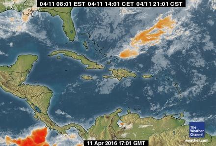 Caribbean Weather Satellite Image